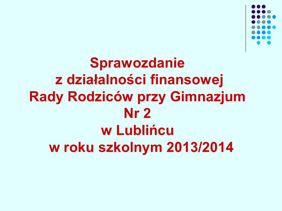 Sprawozdanie z działalności finansowej Rady Rodziców przy Gimnazjum Nr 2 w Lublińcu w roku szkolnym 2013/2014