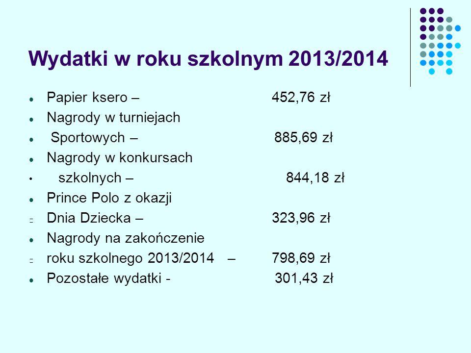 Wydatki w roku szkolnym 2013/2014 Zakup czekolad na turnieje sportowe – 143,28 zł Zakup czekolad na powitanie pierwszoklasistów w nowym roku szkolnym - 210,94 zł