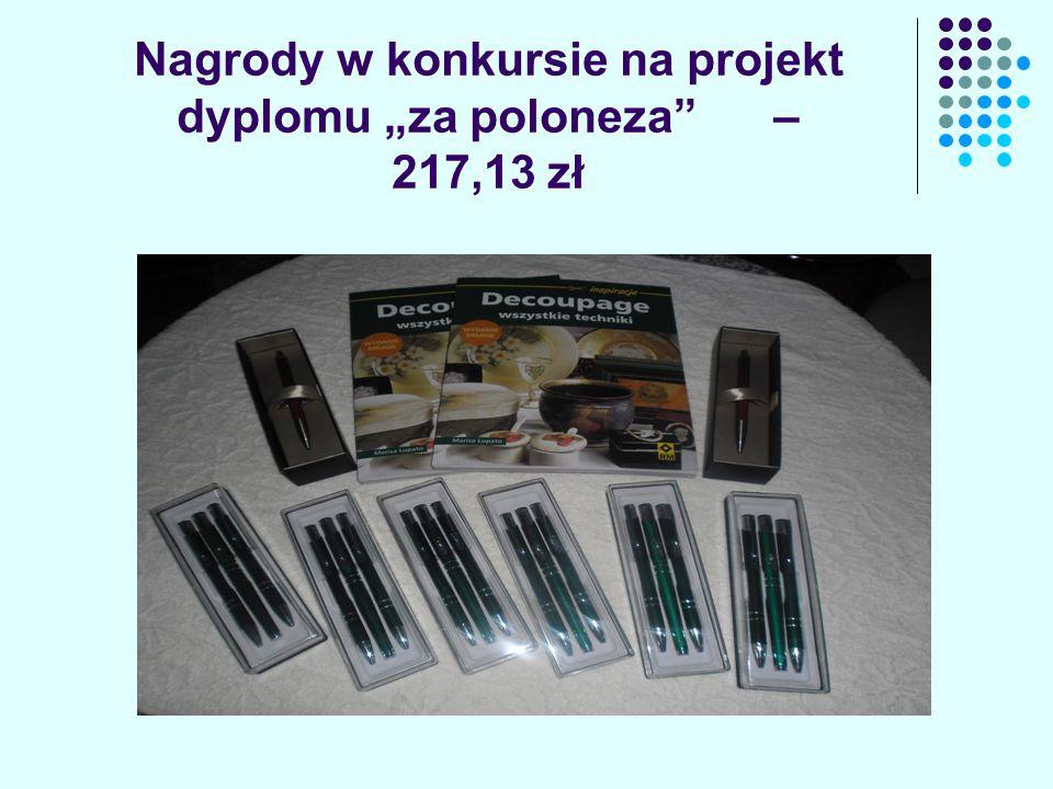 """Nagrody w konkursie na projekt dyplomu """"za poloneza – 217,13 zł"""