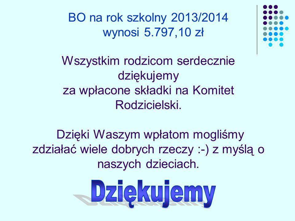 BO na rok szkolny 2013/2014 wynosi 5.797,10 zł Wszystkim rodzicom serdecznie dziękujemy za wpłacone składki na Komitet Rodzicielski.