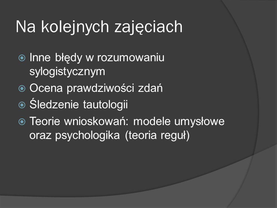 Na kolejnych zajęciach  Inne błędy w rozumowaniu sylogistycznym  Ocena prawdziwości zdań  Śledzenie tautologii  Teorie wnioskowań: modele umysłowe oraz psychologika (teoria reguł)