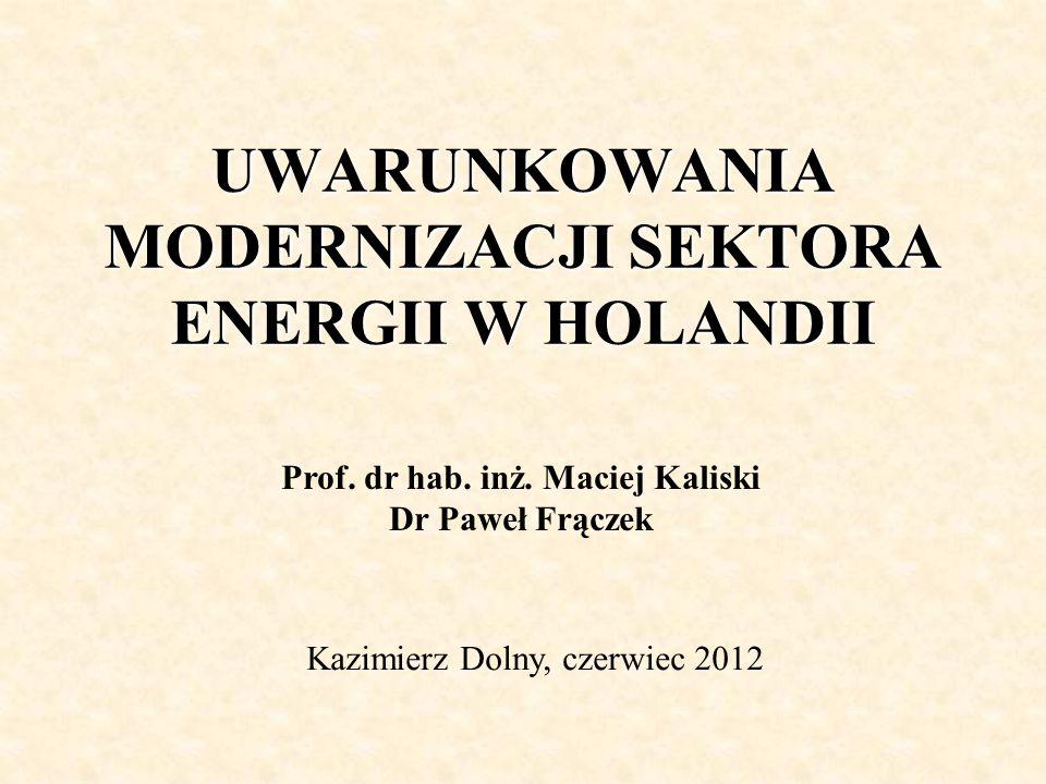 UWARUNKOWANIA MODERNIZACJI SEKTORA ENERGII W HOLANDII Prof.
