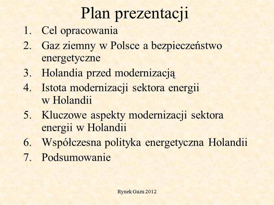 Rynek Gazu 2012 Plan prezentacji 1.Cel opracowania 2.Gaz ziemny w Polsce a bezpieczeństwo energetyczne 3.Holandia przed modernizacją 4.Istota modernizacji sektora energii w Holandii 5.Kluczowe aspekty modernizacji sektora energii w Holandii 6.Współczesna polityka energetyczna Holandii 7.Podsumowanie