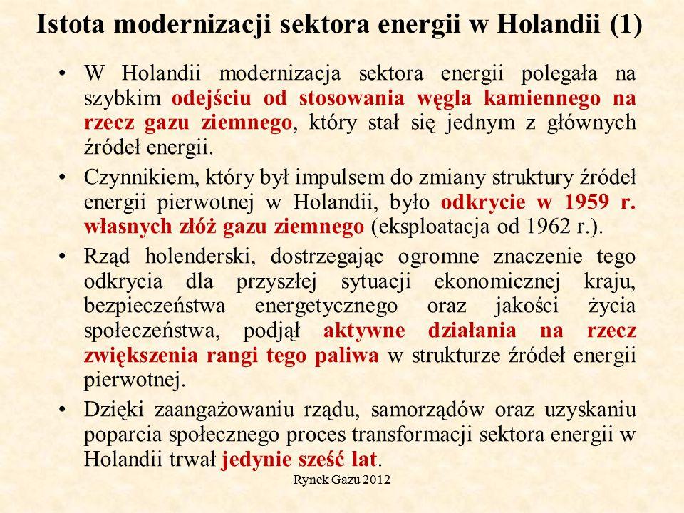 Rynek Gazu 2012 Istota modernizacji sektora energii w Holandii (1) W Holandii modernizacja sektora energii polegała na szybkim odejściu od stosowania węgla kamiennego na rzecz gazu ziemnego, który stał się jednym z głównych źródeł energii.