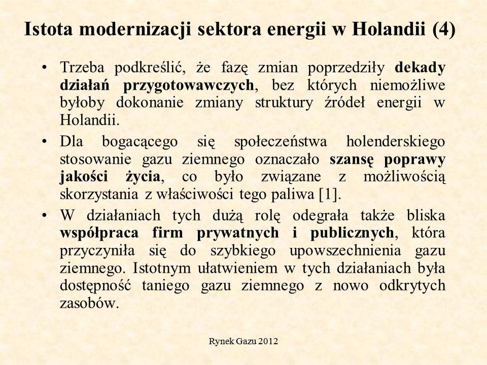 Rynek Gazu 2012 Trzeba podkreślić, że fazę zmian poprzedziły dekady działań przygotowawczych, bez których niemożliwe byłoby dokonanie zmiany struktury źródeł energii w Holandii.