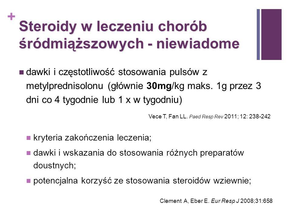 + Steroidy w leczeniu chorób śródmiąższowych - niewiadome dawki i częstotliwość stosowania pulsów z metylprednisolonu (głównie 30mg/kg maks. 1g przez