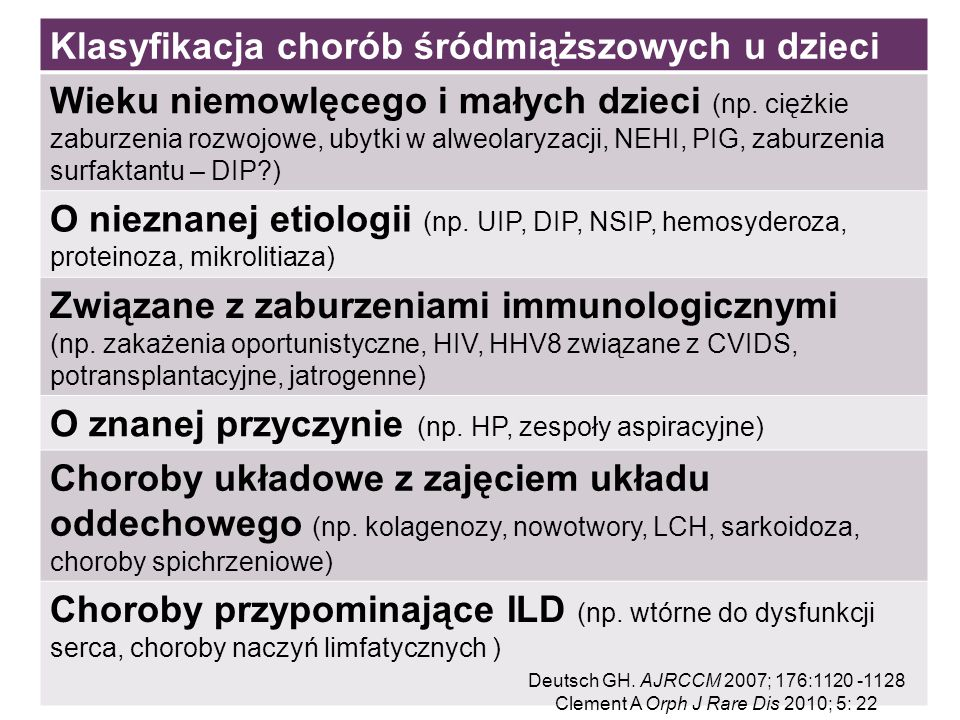 Klasyfikacja chorób śródmiąższowych u dzieci Wieku niemowlęcego i małych dzieci (np. ciężkie zaburzenia rozwojowe, ubytki w alweolaryzacji, NEHI, PIG,