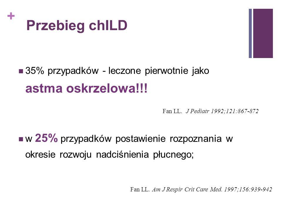 + Przebieg chILD 35% przypadków - leczone pierwotnie jako astma oskrzelowa!!! w 25% przypadków postawienie rozpoznania w okresie rozwoju nadciśnienia