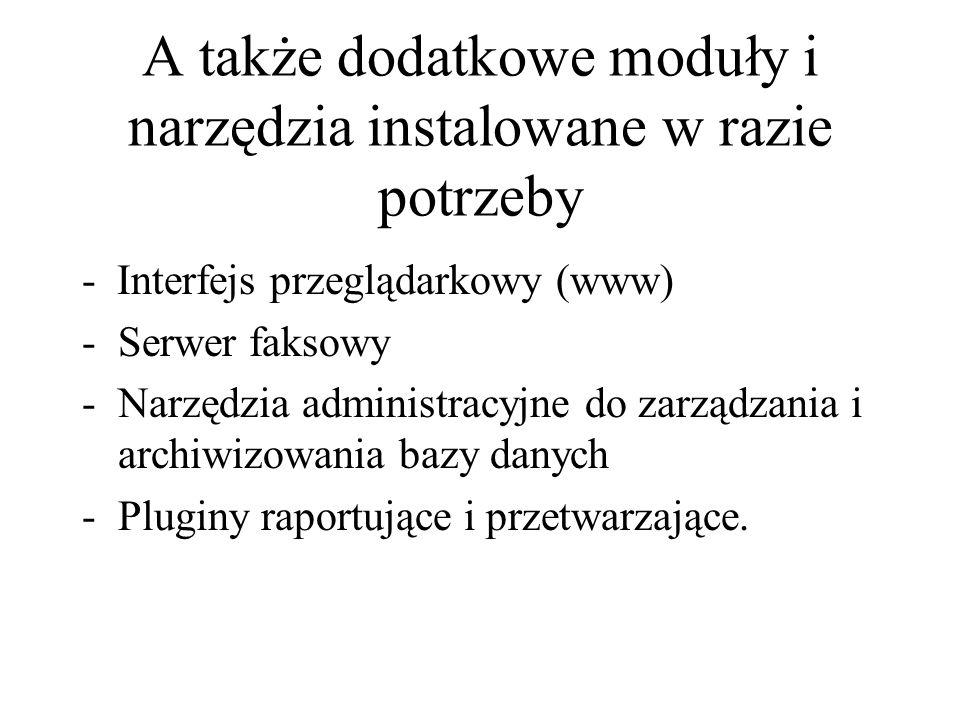 A także dodatkowe moduły i narzędzia instalowane w razie potrzeby - Interfejs przeglądarkowy (www) -Serwer faksowy -Narzędzia administracyjne do zarzą