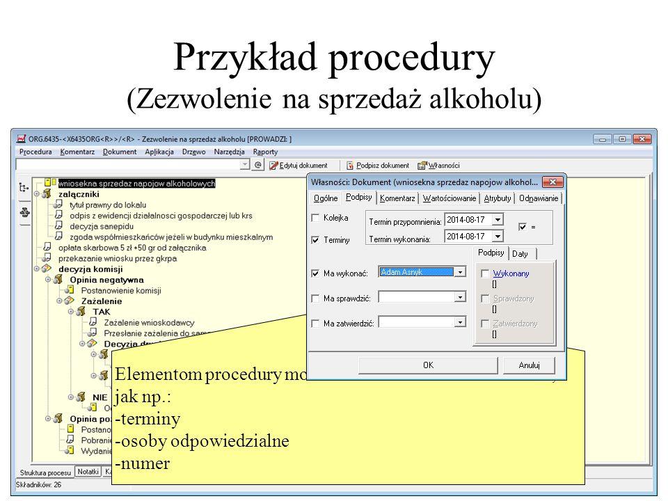 Przykład procedury (Zezwolenie na sprzedaż alkoholu) Elementom procedury można ustawić określone własności,jak np.: - terminy - osoby odpowiedzialne -