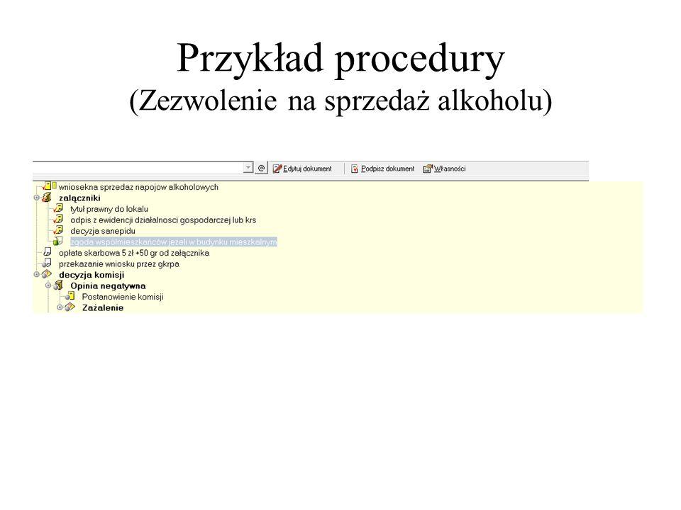 Przykład procedury (Zezwolenie na sprzedaż alkoholu) Elementy wykonane podpisujemy...lub usuwamy do kosza jeżeli nie mają zastosowania dla tej procedu