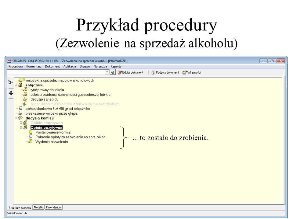 Przykład procedury (Zezwolenie na sprzedaż alkoholu) Elementy decyzyjne znakomicie upraszczają pracę... to zostało do zrobienia.