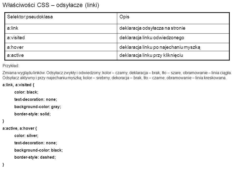 Właściwości CSS – odsyłacze (linki) Selektor:pseudoklasaOpis a:linkdeklaracja odsyłacza na stronie a:visiteddeklaracja linku odwiedzonego a:hoverdeklaracja linku po najechaniu myszką a:activedeklaracja linku przy kliknięciu Przykład: Zmiana wyglądu linków.