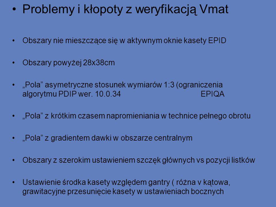"""Problemy i kłopoty z weryfikacją Vmat Obszary nie mieszczące się w aktywnym oknie kasety EPID Obszary powyżej 28x38cm """"Pola asymetryczne stosunek wymiarów 1:3 (ograniczenia algorytmu PDIP wer."""