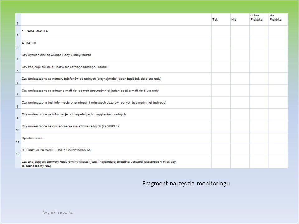 Fragment narzędzia monitoringu Wyniki raportu