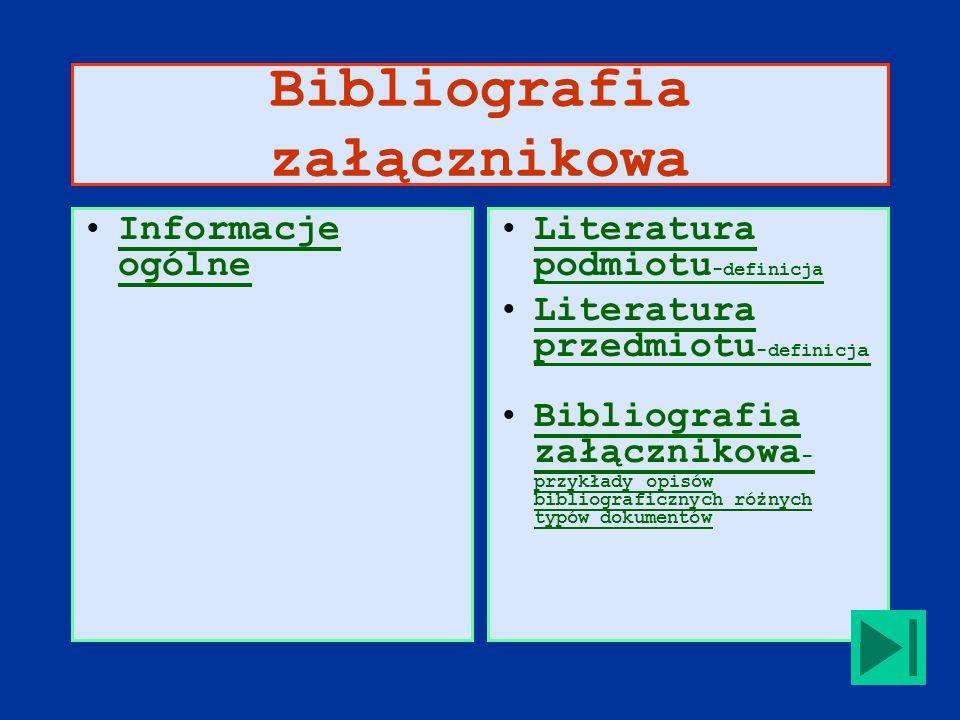 Bibliografia załącznikowa Informacje ogólneInformacje ogólne Literatura podmiotu -definicjaLiteratura podmiotu -definicja Literatura przedmiotu -definicj aLiteratura przedmiotu -definicj a Bibliografia załącznikowa - przykłady opisów bibliograficznych różnych typów dokumentówBibliografia załącznikowa - przykłady opisów bibliograficznych różnych typów dokumentów