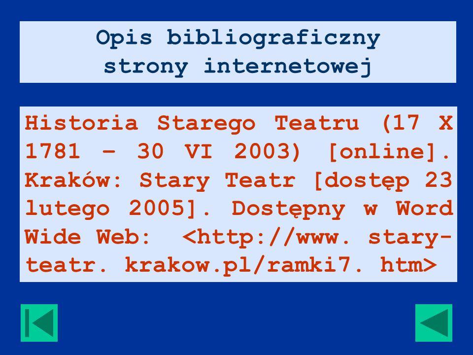 Historia Starego Teatru (17 X 1781 – 30 VI 2003) [online].