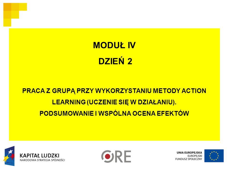 MODUŁ IV DZIEŃ 2 PRACA Z GRUPĄ PRZY WYKORZYSTANIU METODY ACTION LEARNING (UCZENIE SIĘ W DZIAŁANIU).