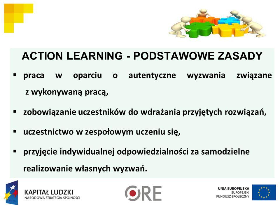 ACTION LEARNING - PODSTAWOWE ZASADY  praca w oparciu o autentyczne wyzwania związane z wykonywaną pracą,  zobowiązanie uczestników do wdrażania przyjętych rozwiązań,  uczestnictwo w zespołowym uczeniu się,  przyjęcie indywidualnej odpowiedzialności za samodzielne realizowanie własnych wyzwań.