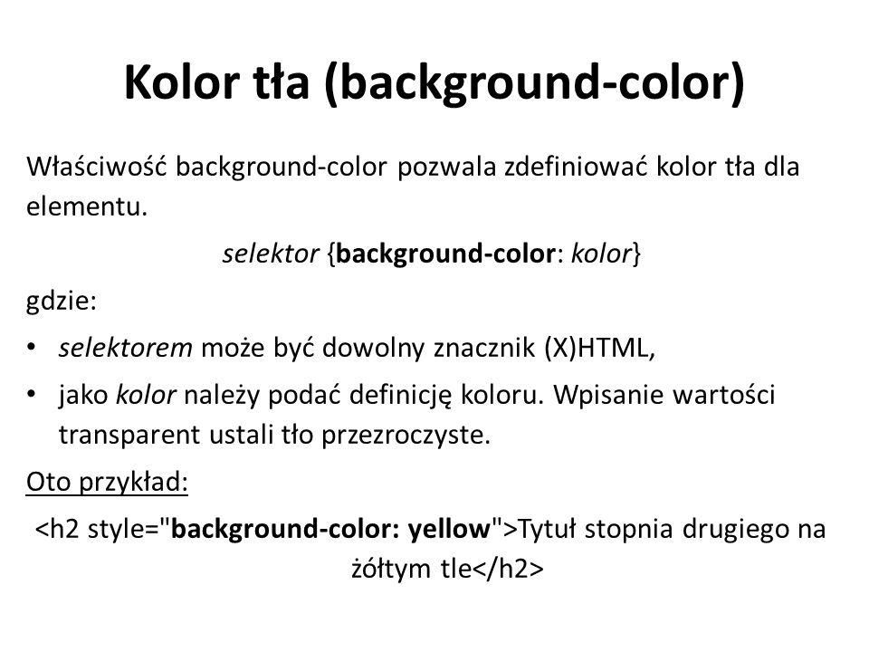 Grafika jako tło (background-image) Właściwość background-image pozwala zdefiniować obraz jako tło.
