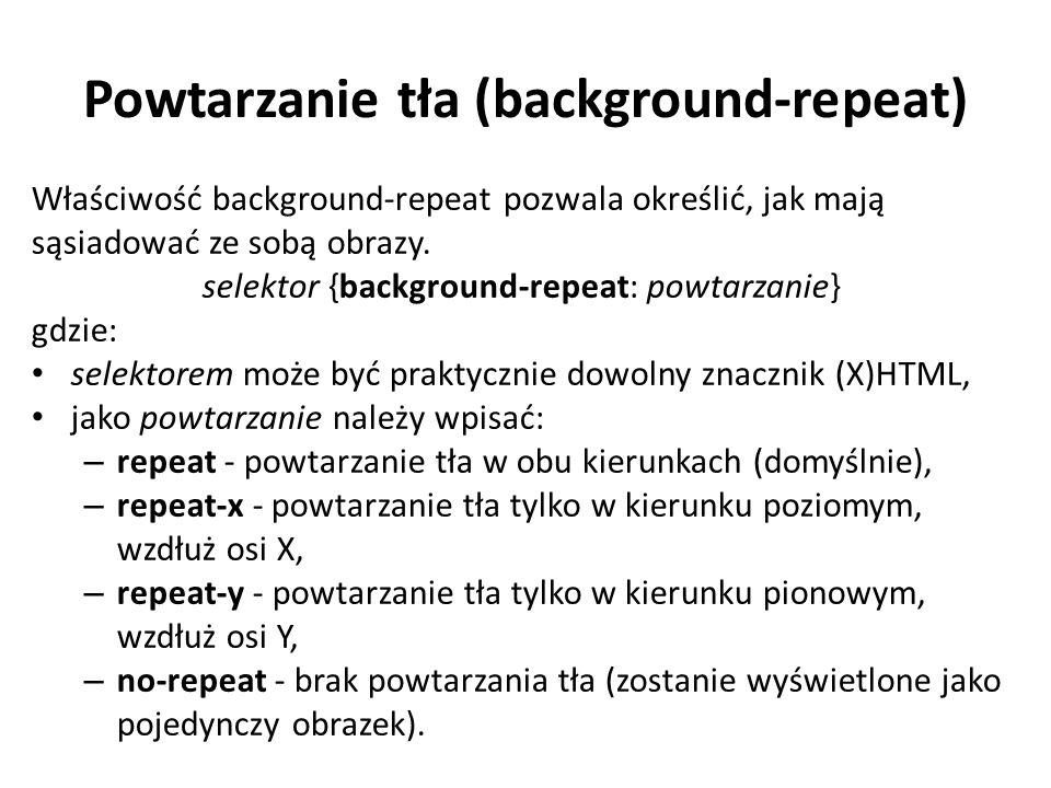 Przykłady repeat-x zastosowanie repeat-x, czyli powtórzenie tła w poziomie repeat-y zastosowanie repeat-y, czyli powtórzenie tła w pionie