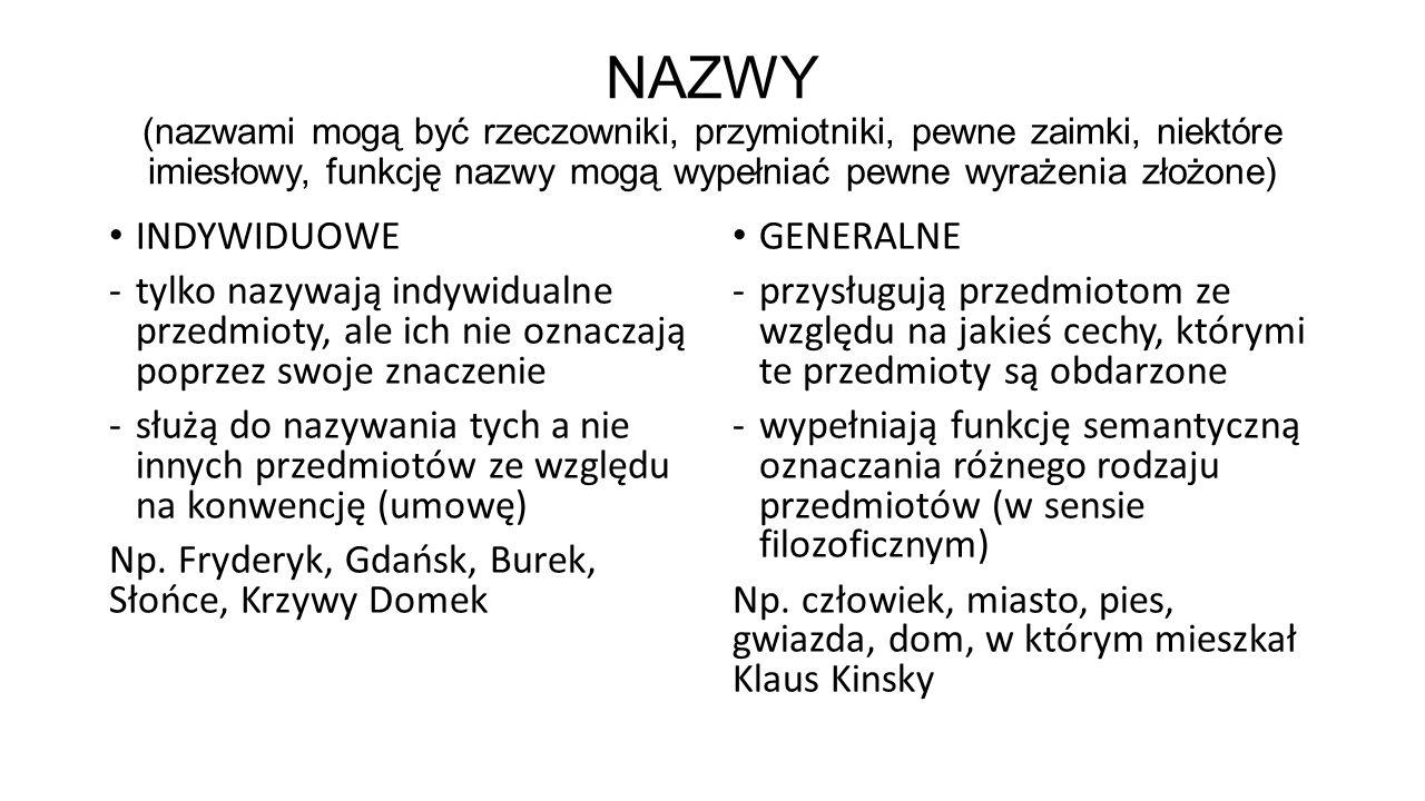 NAZWY (nazwami mogą być rzeczowniki, przymiotniki, pewne zaimki, niektóre imiesłowy, funkcję nazwy mogą wypełniać pewne wyrażenia złożone) INDYWIDUOWE