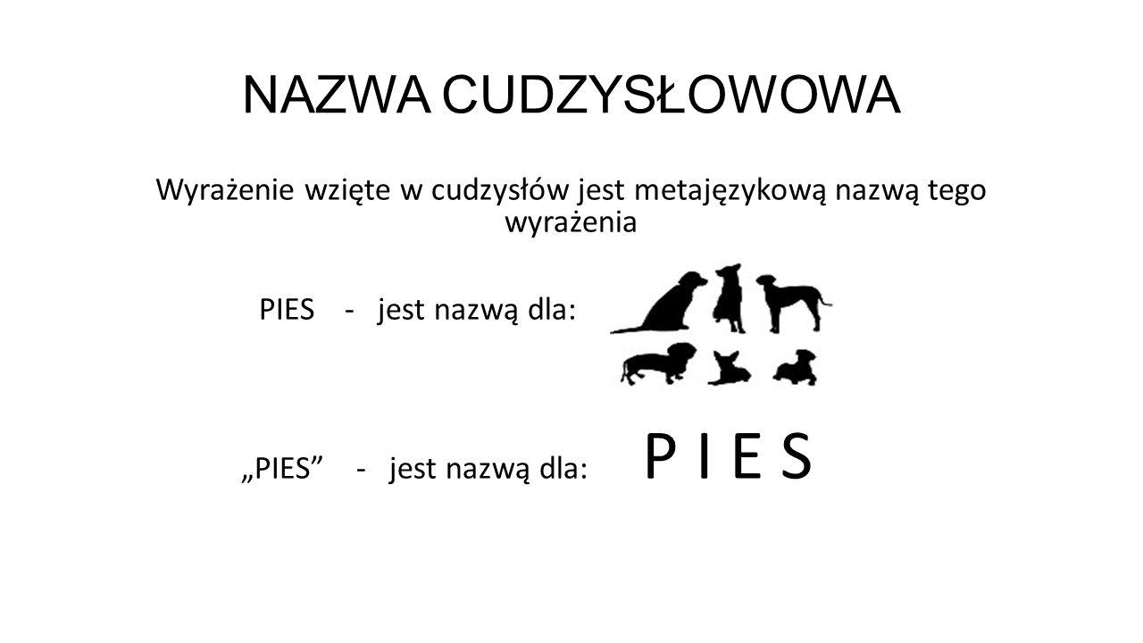 """NAZWA CYDZYSŁOWOW A PIES- jest nazwą dla: (dla wyrażenia - PIES - nazwą jest """"PIES )"""