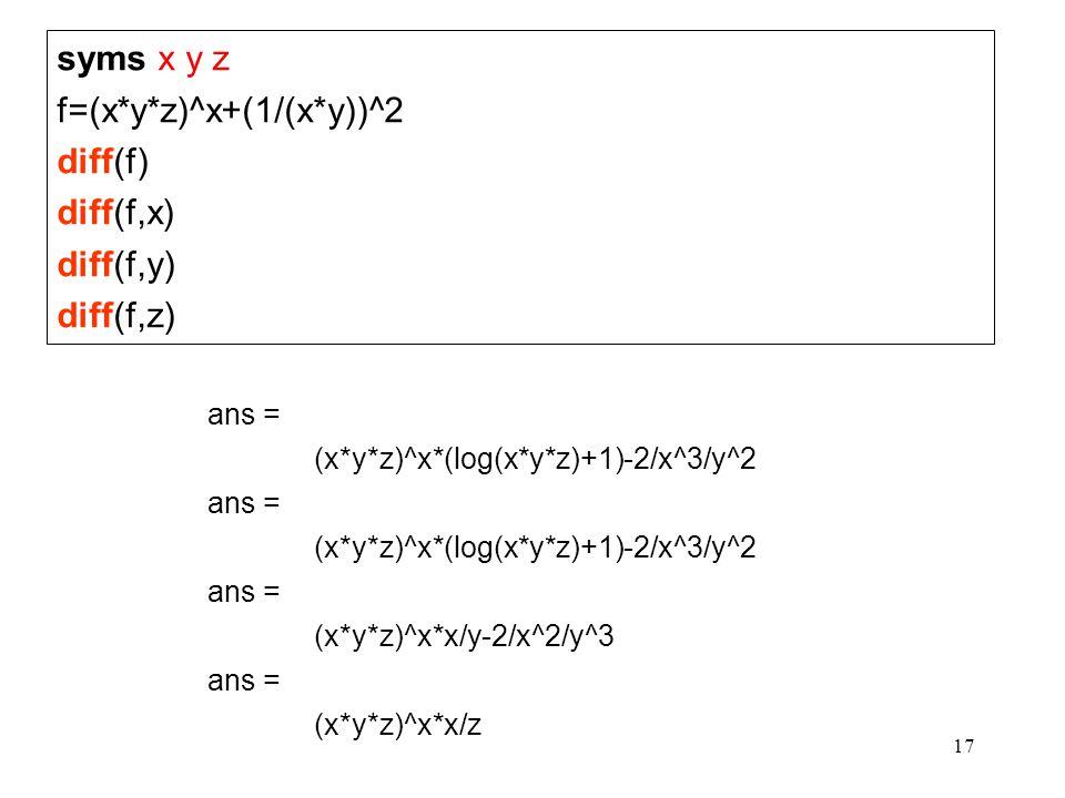 17 syms x y z f=(x*y*z)^x+(1/(x*y))^2 diff(f) diff(f,x) diff(f,y) diff(f,z) ans = (x*y*z)^x*(log(x*y*z)+1)-2/x^3/y^2 ans = (x*y*z)^x*(log(x*y*z)+1)-2/
