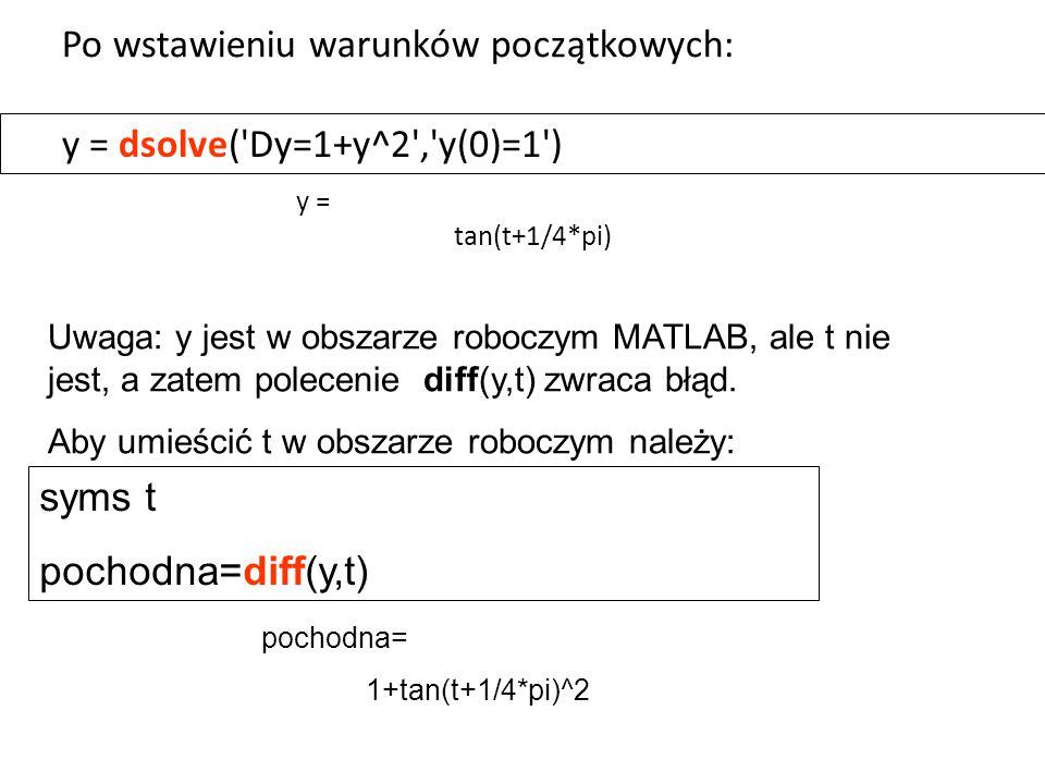 y = dsolve('Dy=1+y^2','y(0)=1') Uwaga: y jest w obszarze roboczym MATLAB, ale t nie jest, a zatem polecenie diff(y,t) zwraca błąd. Aby umieścić t w ob