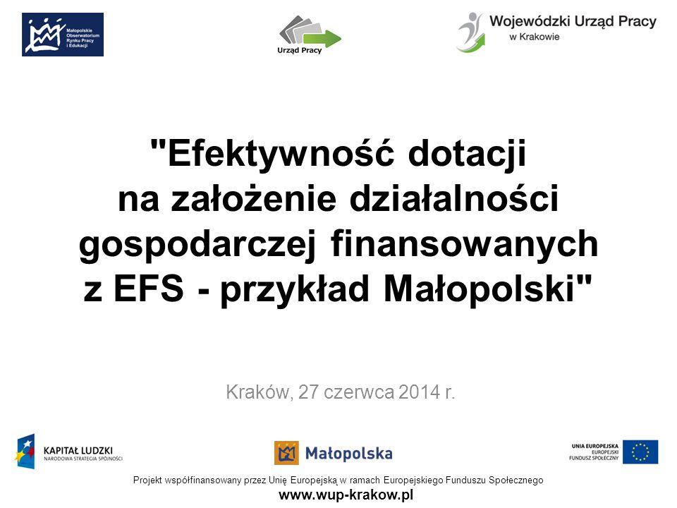 www.wup-krakow.pl Projekt współfinansowany przez Unię Europejską w ramach Europejskiego Funduszu Społecznego Efektywność dotacji na założenie działalności gospodarczej finansowanych z EFS - przykład Małopolski Kraków, 27 czerwca 2014 r.