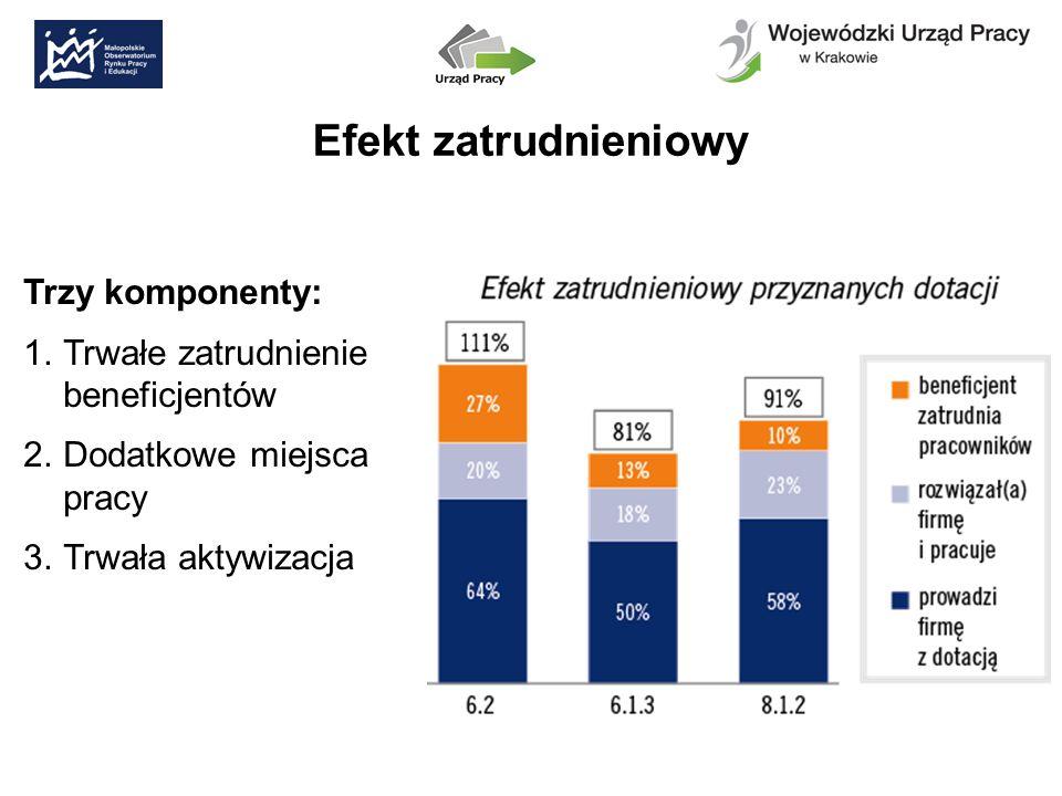 Efekt zatrudnieniowy Trzy komponenty: 1.Trwałe zatrudnienie beneficjentów 2.Dodatkowe miejsca pracy 3.Trwała aktywizacja