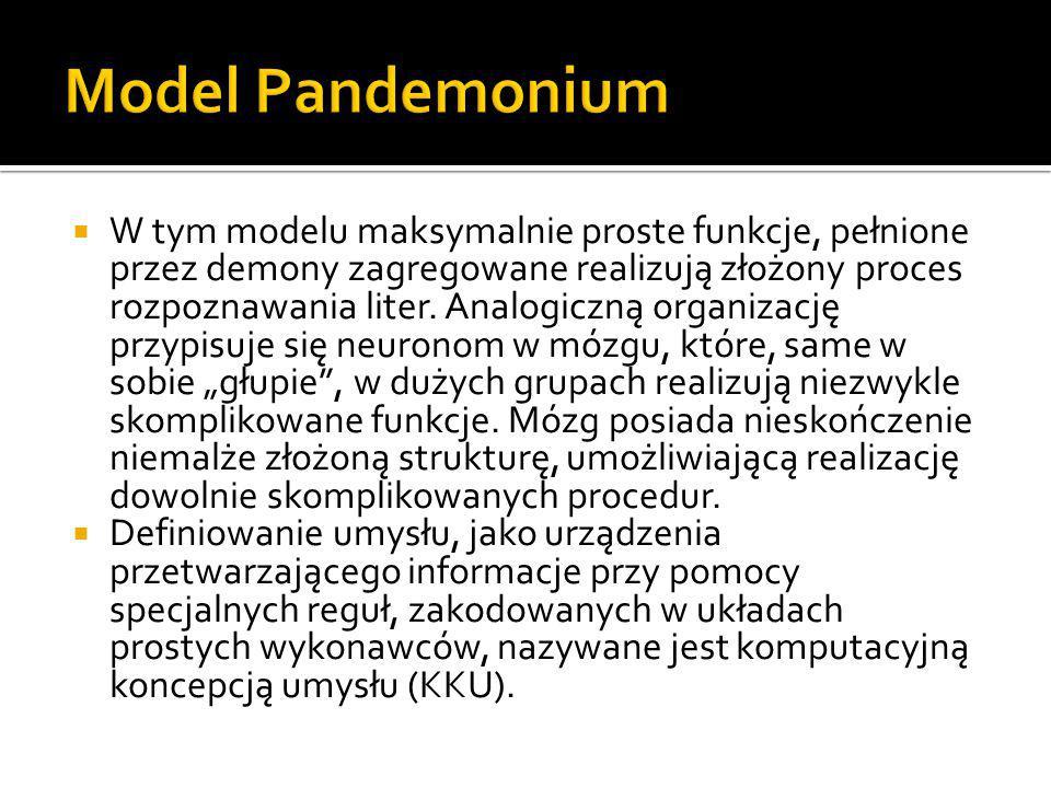 W tym modelu maksymalnie proste funkcje, pełnione przez demony zagregowane realizują złożony proces rozpoznawania liter. Analogiczną organizację prz