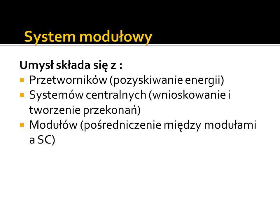 Umysł składa się z :  Przetworników (pozyskiwanie energii)  Systemów centralnych (wnioskowanie i tworzenie przekonań)  Modułów (pośredniczenie międ