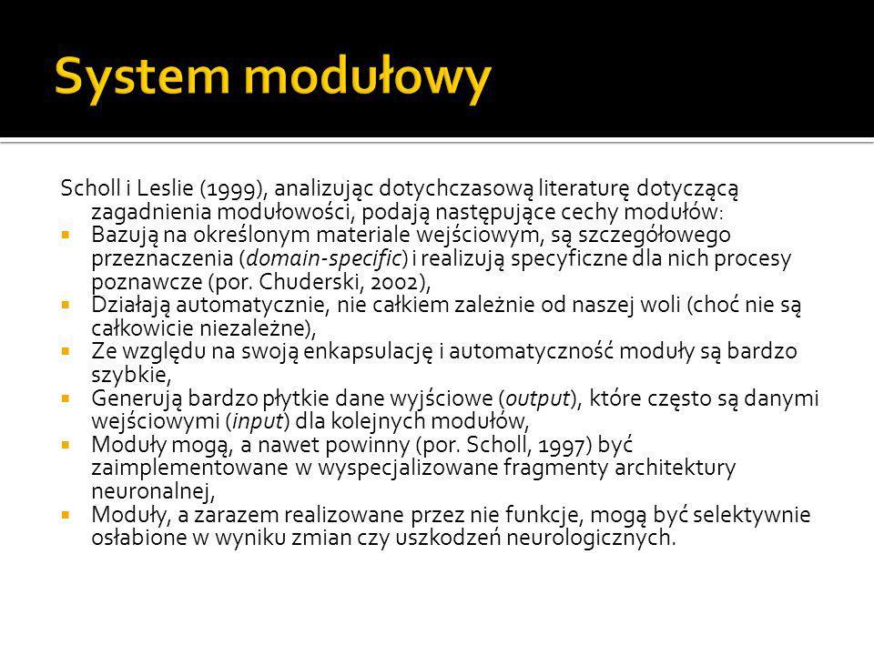 Scholl i Leslie (1999), analizując dotychczasową literaturę dotyczącą zagadnienia modułowości, podają następujące cechy modułów:  Bazują na określony