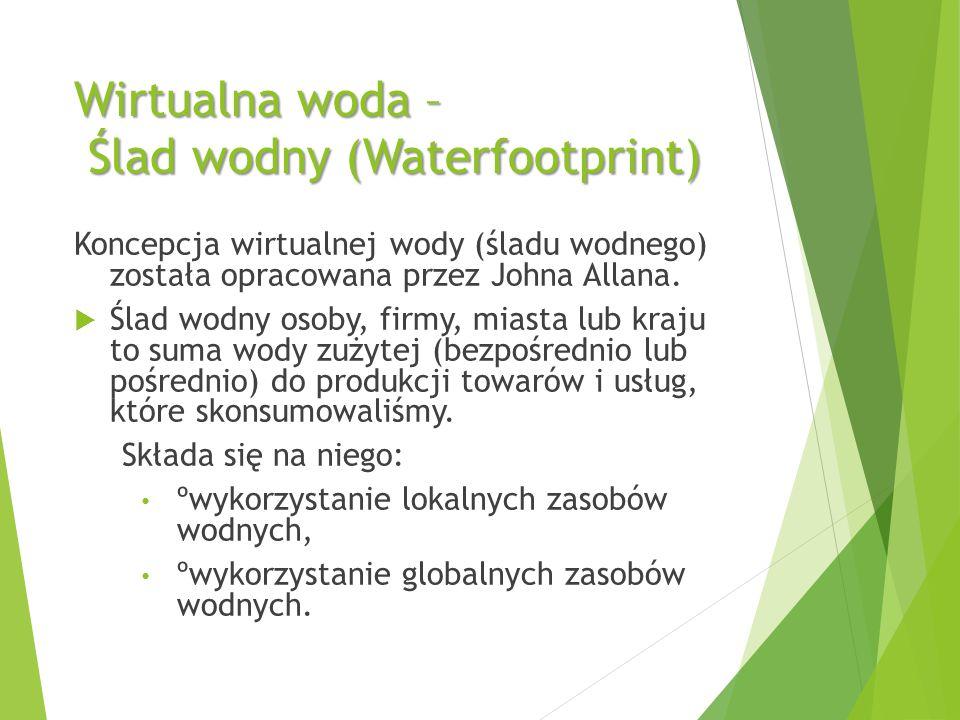 Wirtualna woda – Ślad wodny (Waterfootprint) Koncepcja wirtualnej wody (śladu wodnego) została opracowana przez Johna Allana.  Ślad wodny osoby, firm