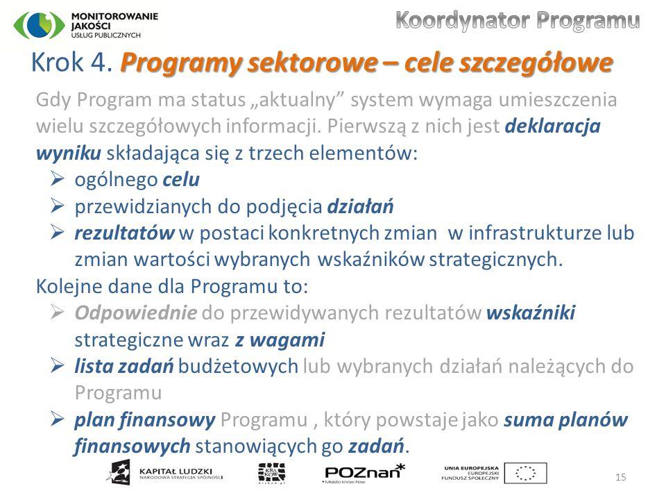 Programy sektorowe – cele szczegółowe Krok 4.