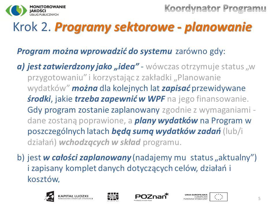 Programy sektorowe - planowanie Krok 2.