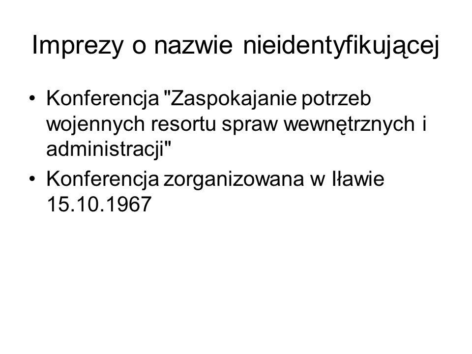 Imprezy o nazwie nieidentyfikującej Konferencja