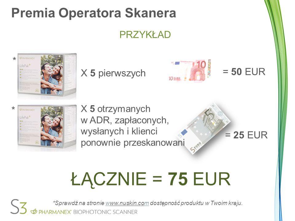Premia Operatora Skanera PRZYKŁAD X 5 pierwszych = 50 EUR X 5 otrzymanych w ADR, zapłaconych, wysłanych i klienci ponownie przeskanowani = 25 EUR ŁĄCZ