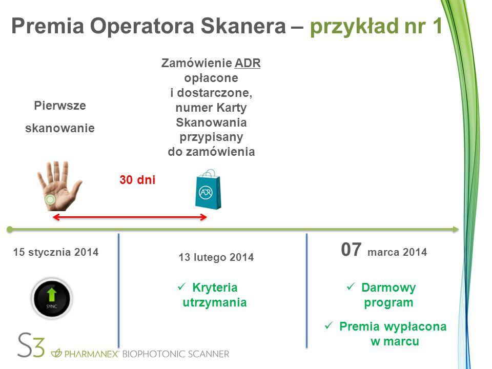 Pierwsze skanowanie 30 dni Zamówienie ADR opłacone i dostarczone, numer Karty Skanowania przypisany do zamówienia 15 stycznia 2014 13 lutego 2014 Kryt