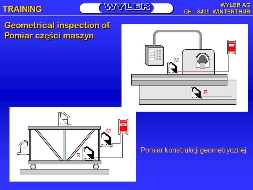 Pomiar konstrukcji geometrycznej Geometrical inspection of Pomiar cz ęś ci maszyn Geometrical inspection of Pomiar cz ęś ci maszyn M R R M TRAINING WYLER AG CH - 8405 WINTERTHUR WYLER AG CH - 8405 WINTERTHUR