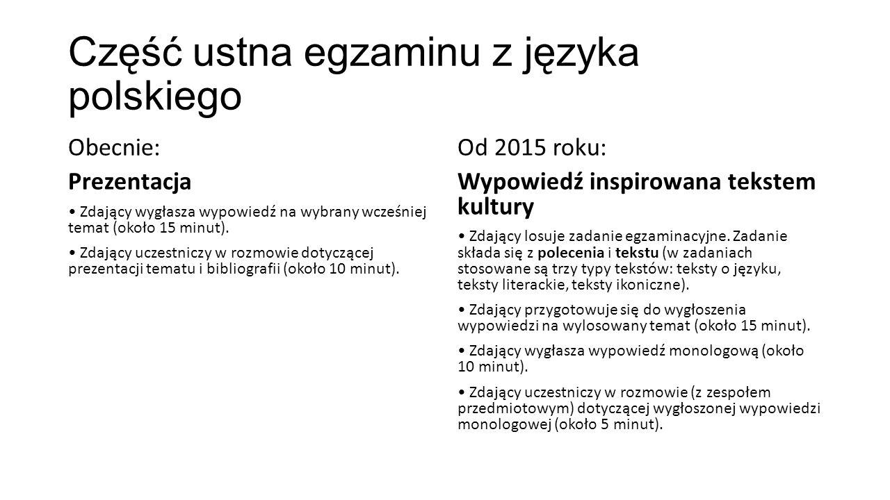 Część ustna egzaminu z języka polskiego Obecnie: Prezentacja Zdający wygłasza wypowiedź na wybrany wcześniej temat (około 15 minut). Zdający uczestnic