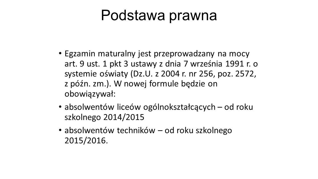 Podstawa prawna Egzamin maturalny jest przeprowadzany na mocy art. 9 ust. 1 pkt 3 ustawy z dnia 7 września 1991 r. o systemie oświaty (Dz.U. z 2004 r.