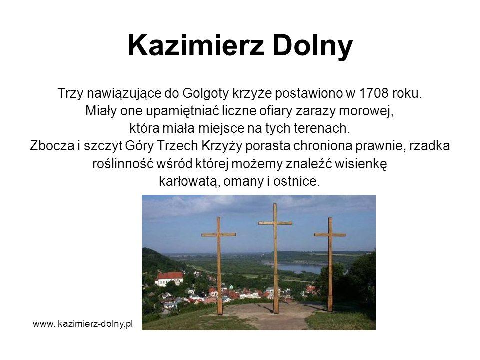 Kazimierz Dolny Trzy nawiązujące do Golgoty krzyże postawiono w 1708 roku. Miały one upamiętniać liczne ofiary zarazy morowej, która miała miejsce na