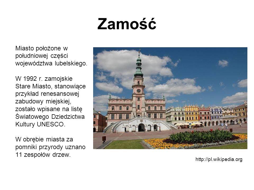 Zamość Miasto położone w południowej części województwa lubelskiego. W 1992 r. zamojskie Stare Miasto, stanowiące przykład renesansowej zabudowy miejs