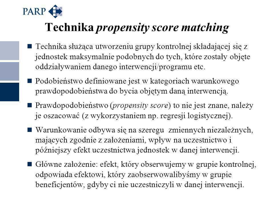 Technika propensity score matching Technika służąca utworzeniu grupy kontrolnej składającej się z jednostek maksymalnie podobnych do tych, które zostały objęte oddziaływaniem danego interwencji/programu etc.