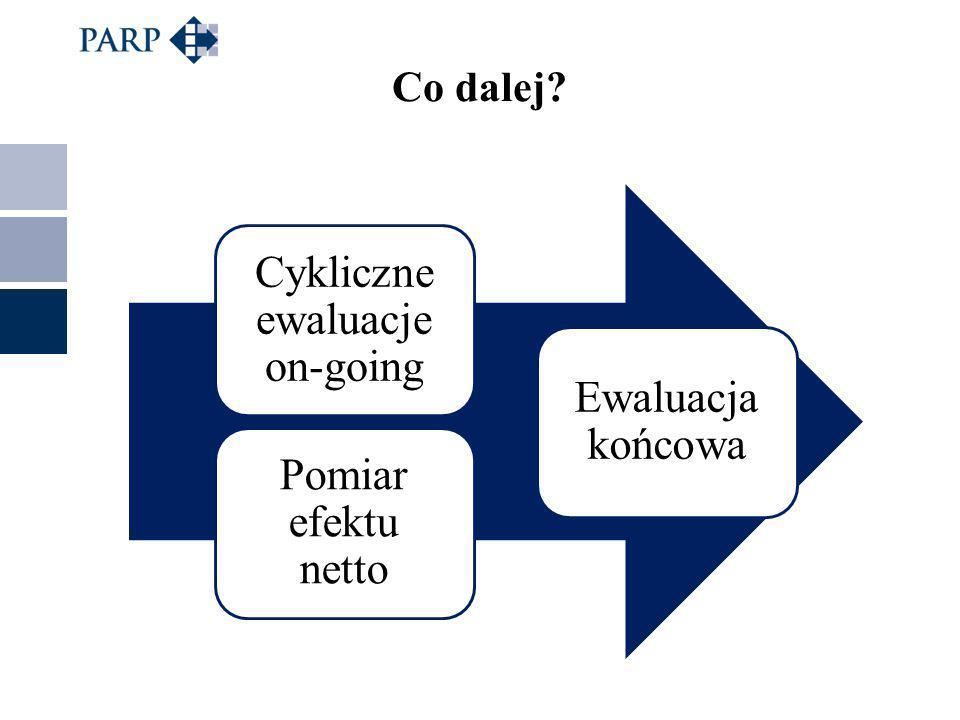Co dalej Cykliczne ewaluacje on-going Pomiar efektu netto Ewaluacja końcowa