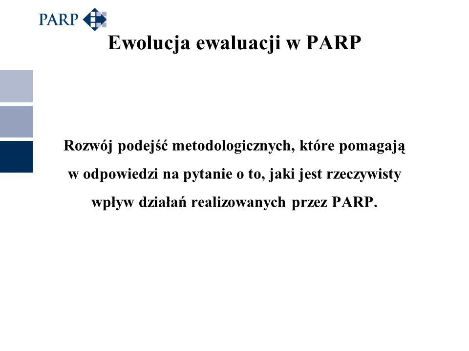Rozwój podejść metodologicznych, które pomagają w odpowiedzi na pytanie o to, jaki jest rzeczywisty wpływ działań realizowanych przez PARP. Ewolucja e