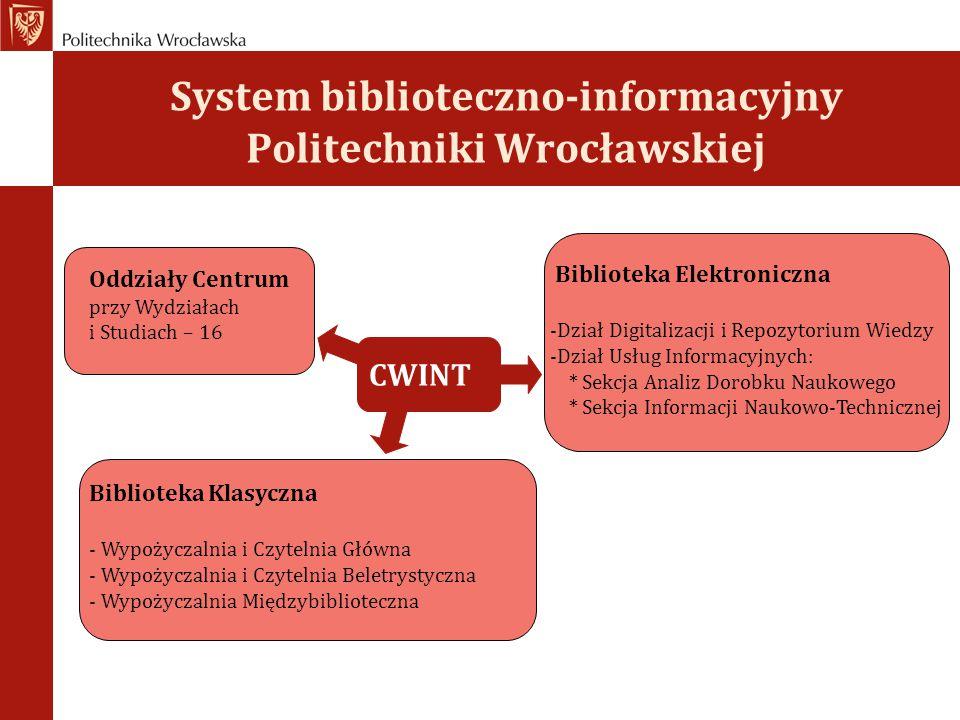System biblioteczno-informacyjny Politechniki Wrocławskiej Oddziały Centrum przy Wydziałach i Studiach – 16 Biblioteka Elektroniczna -Dział Digitaliza