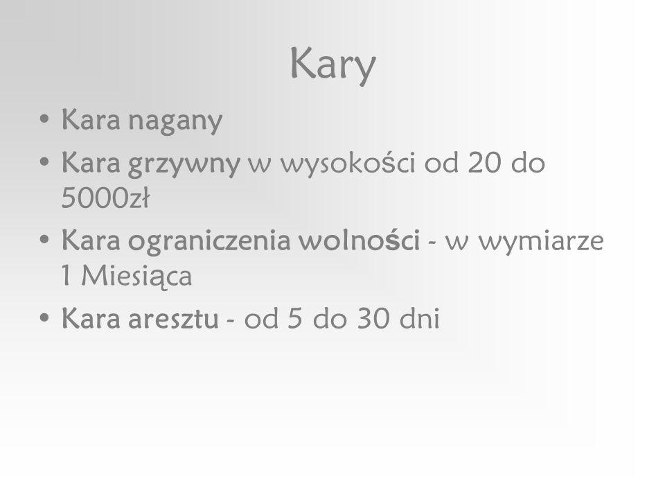 Kary Kara nagany Kara grzywny w wysoko ś ci od 20 do 5000zł Kara ograniczenia wolno ś ci - w wymiarze 1 Miesi ą ca Kara aresztu - od 5 do 30 dni